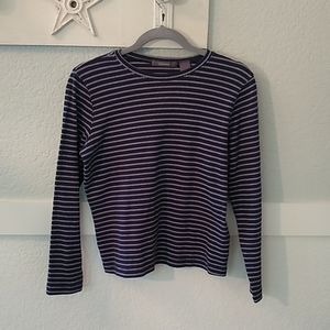 LizClaiborne navy pullover top, long sleeves M